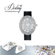 Судьба ювелирные изделия кристалл из Swarovski гламур Кожаный Часы