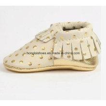 Cuero de borlas zapatos de bebé 03