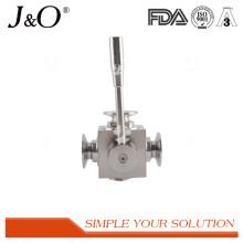 Válvula de bola de aço inoxidável sanitária da maneira da braçadeira 3 do produto comestível