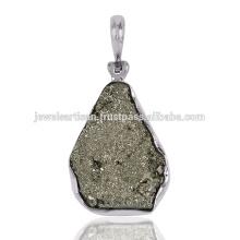 Piedra natural de la pirita Druzy 925 joyería pendiente de la plata esterlina