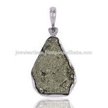 Natural Pyrite Druzy Gemstone 925 Sterling Silver Pendant Jewelry