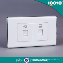 118 * 74mm weiße Farbe Steckdose mit Datensteckdose