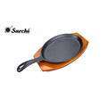 Cast Iron Sizzling Steak Plate Wooden Base
