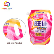 Top+Doypack+Detergent+Liquid+Spout+Pouch+With+Handle