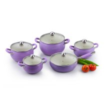 10PCS Purple Cookware Set with Silicone Handles