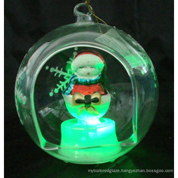 Glass Snowman Ornament with LED Light (KL90226-22)