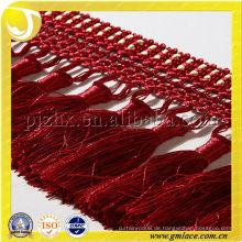 High-End Vorhang Fringe Kristall Perle Vorhang Fringe für Kleider Red Tassel Fringe