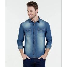 Camisa casual de mezclilla de manga larga para hombres a medida