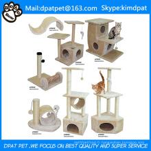 Sisal Scratch Postes Arbre à chat bricolage de luxe avec jouets en corde d'escalade