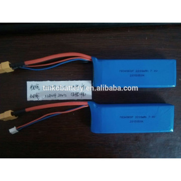 rechargeable lipo 7.4v 2200mah 2s rc helicopter lithium polymer battery pack