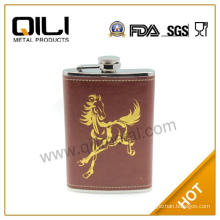 Customized logo leather wrapped cool hip flasks gifts for him