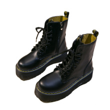 2021 High quality fashion luxury women winter snow pu leather solid color warm ankle lace up boots ladies casual shoes