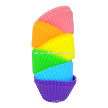 LFGB FDA-Zulassung Food Grade Home Backen DIY Tools Hitzebeständige Antihaft-Soft Bunte Silikon Muffin Cups