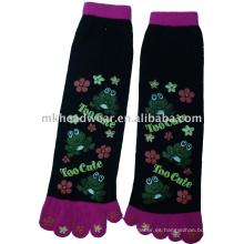 Calcetín grueso del algodón cinco-dedo del pie con la impresión linda