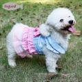 Checked Design Tutu Dog Apparel Denim Princess Cat Dog Bridal Wedding Clothes Dress For Pet Cat Puppy Dog