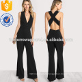 Negro Entrecruzan el traje del dobladillo trasero de la llamarada OEM / ODM Fabricación al por mayor Mujeres de la manera de la ropa (TA7004J)