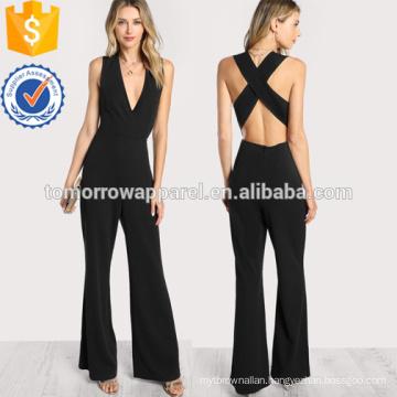 Black Crisscross Back Flare Hem Jumpsuit OEM/ODM Manufacture Wholesale Fashion Women Apparel (TA7004J)