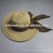 2015 sombrero de paja al por mayor del verano del sombrero del sol del casquillo de la playa