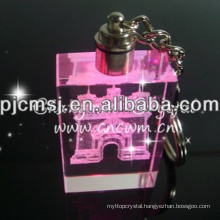 Customized Crystal 3d Logo Key Chain For Business Gift With Led Light