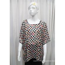 Lady Fashion Flower Printed Polyester Chiffon Silk T-Shirt (YKY2219)