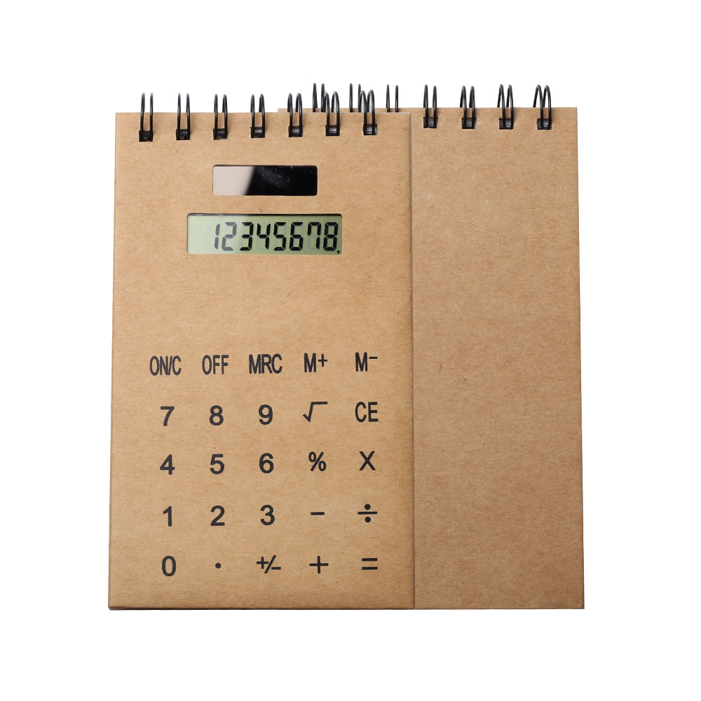 Kraft Cover Vertical Notebook with Calculator Dual Power