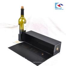 Qualidade superior personalizado dobrável caixas de embalagem de vinho tinto de papelão preto