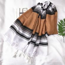 2017 nouvelle mode Euro design vente chaude dame tout-match simple rayures coton écharpe en gros
