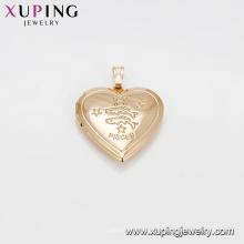 33276 Bijoux de mode en or Arabie Saoudite Le pendentif en or avec le coeur gravait le pendentif en forme de poisson