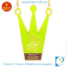 Medalha macia personalizada de alta qualidade da cidade da forma da coroa do esmalte de China com chapeamento de ouro
