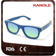 handgemachte China Großhandel uv400 Spiegelglas polarisierte Skateboard Holz Sonnenbrille