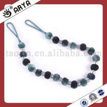 High end modern Europe fluffy ball and crystal curtain tieback rope