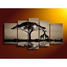 Arte africana preto e branco na pintura a óleo da lona (AR-116)