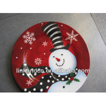 KC-02539beautiful ceramic snowman plates,funny round flat pizza/cake plates