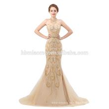 Sexy colección 2018 vestido de noche de lujo halter diseño sirena señoras larga tarde vestido de fiesta con pesados cuentas