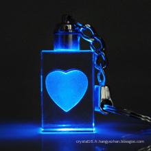 Trousseau de laser en cristal 3D en verre pour le cadeau