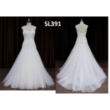 Cap Sleeve Sexy Backless Lace Applique Wedding Dress 2016 New Style