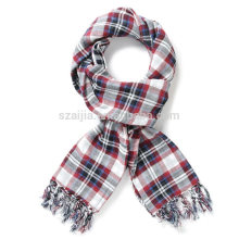 Fashion 100 cotton plaid young girl long scarf
