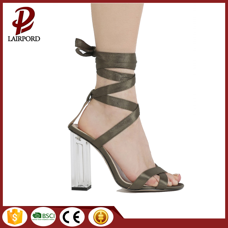 10cm high heel fabric strap lace sandals