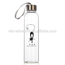 Drinking Moisture Proof 1L Glass Bottle With String Lid