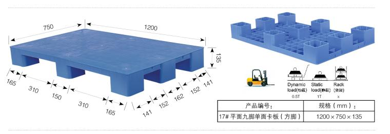 Nine Feet Single Board Plastic Pallet