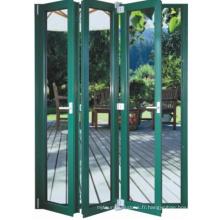 Porte pliante en aluminium double vitrage recouverte