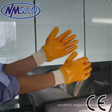NMSAFETY interlock liner full nitrile dipped oil proof orange gloves