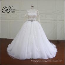 Ak044 высокого качества кружевной аппликацией свадебное платье плюс Размер свадебное платье 2016