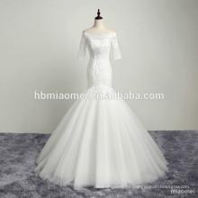 2017 diseño personalizado de cuello barco lentejuelas encaje appliqued belleza nupcial vestido de novia de la sirena