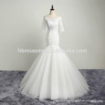 2017 custom design boat neck sequins lace appliqued beauty bridal wedding dress mermaid