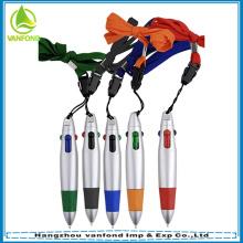 Promo mini plástico multi cor caneta com cordão