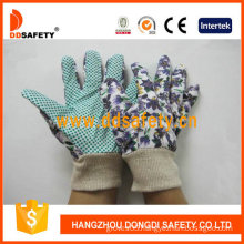 Women′s Garden Gloves. Green Dots on Palm. Flower Design (DGB207)