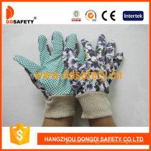 Women′s Garden Gloves. Green Dots on Palm. Flower Design (DGB207)