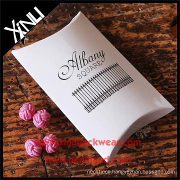 Custom Envelope Cufflink Gift Box with Pink Silk Knot Cufflinks Set