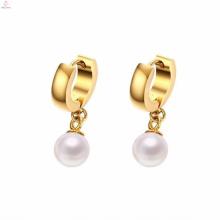 Neueste Design Edelstahl große Hoop Perle Ohrringe Stud